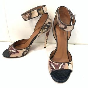 GIVENCHY Butterfly Print Strappy Sandals Sz 39